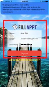 FillAppt Confirm Registration Screen