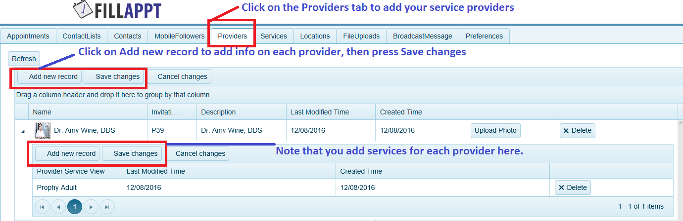Setup Providers and their Services